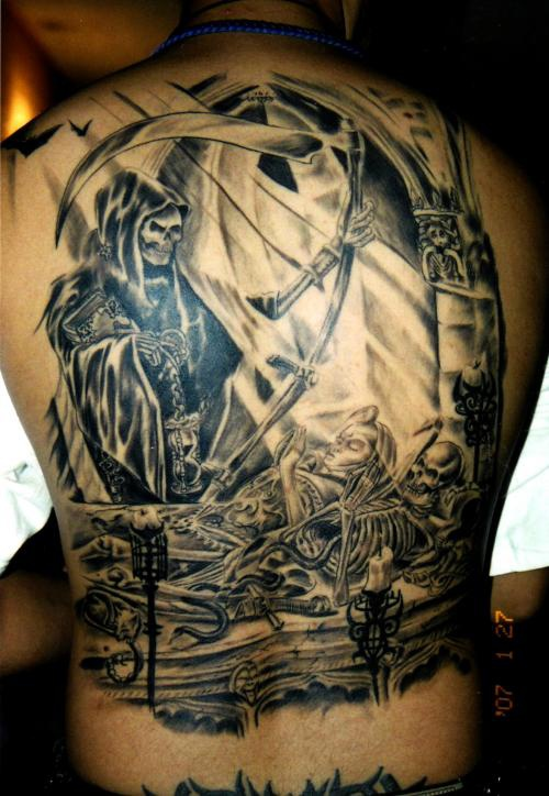 death taking life full back artwork tattoo. Black Bedroom Furniture Sets. Home Design Ideas