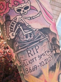 Cat cementery coloured tattoo