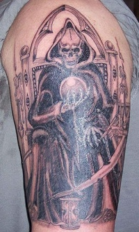 Throne of death with magic sphere  tattoo